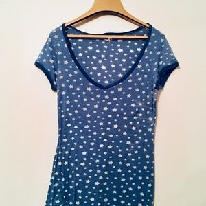 💙 { AMERICAN RAG } | Navy w| White Star Sheer Top